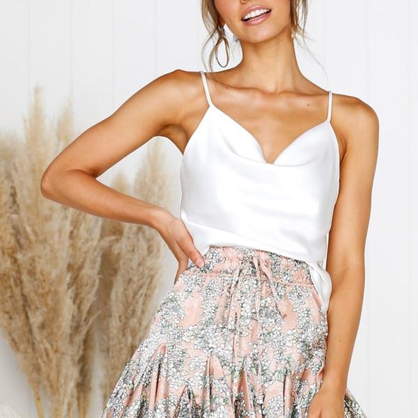 White Satin Thin Wild Camis Vest Women Slip Tank Tops Female 2019 Summer Sexy Strap Tops Chiffon Sleeveless See Through Camisole