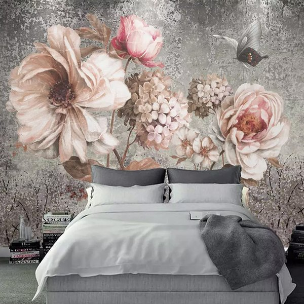 Custom Any Size Mural Wallpaper 3D Retro Oil Painting Flowers Photo Wall Paper Living Room Bedroom European Style 3 D Home Decor