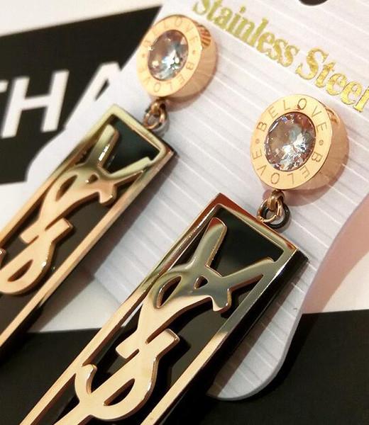 2019 neue luxus ohrringe markendesigner titanium stahl bolzenfrauen mode brief mit kristall baumeln ohrringe versandkostenfrei