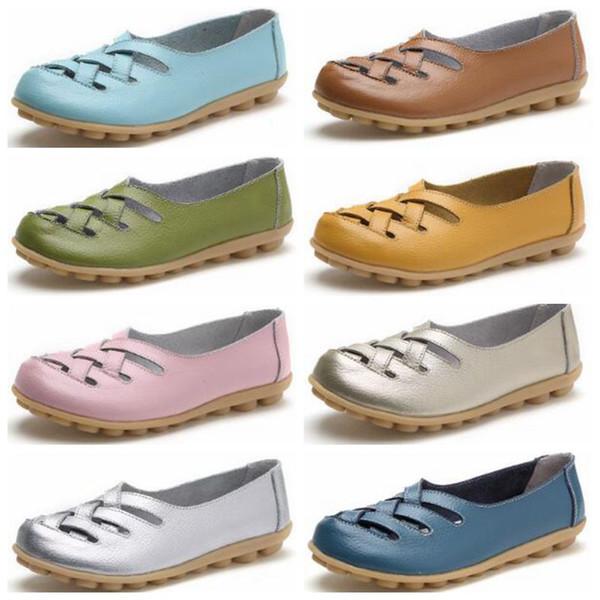 Flat Shoes Hole Doug Shoes Loafers Sandals Nurses Shoe Low Help Shallow Flats Chaussures Breathable Mother Shoes Genuine Leather Shoe A5067