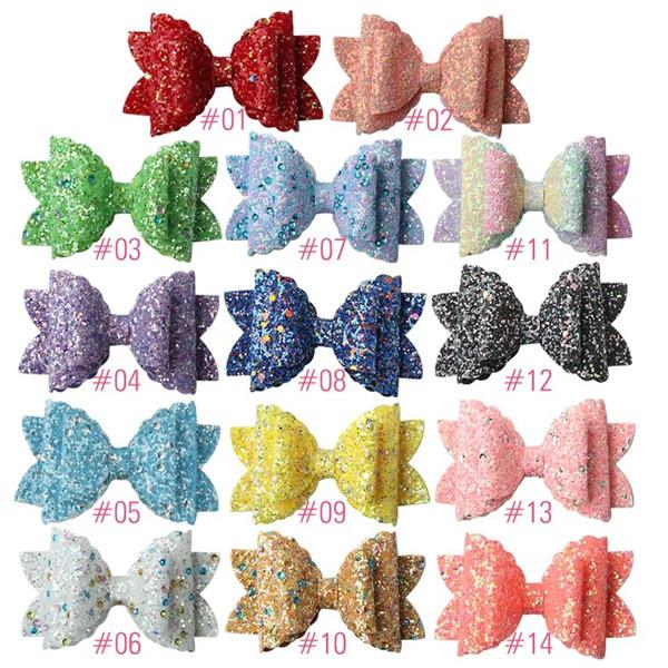 Free DHL Shipping About 3.5inch Kids Girls Hair Barrettes Claws Unicorn Polka Dot Sequins Bows Hair Clippers Mermaid Clips Hair Accessories