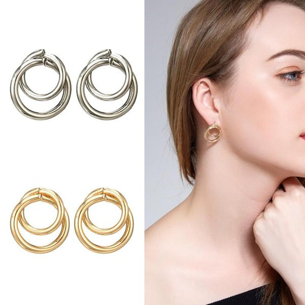 1pair Fashion Simple Personality Earrings Europe New Double Circle Interlocking Circle Geometric Earrings Female Party Jewelry