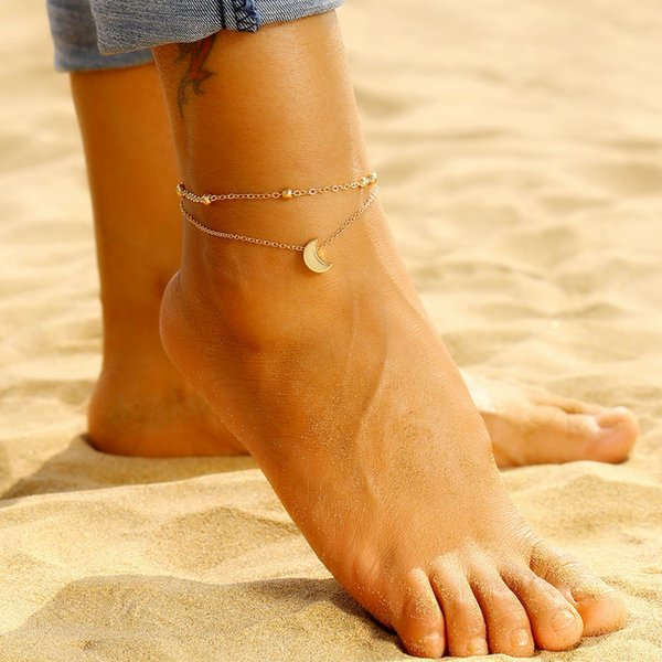Simple Fashion Beads Ankle Chain Moon Pendant Anklets For Women Summer Beach Barefoot Anklet Bracelet On Leg Boho Foot Jewelry