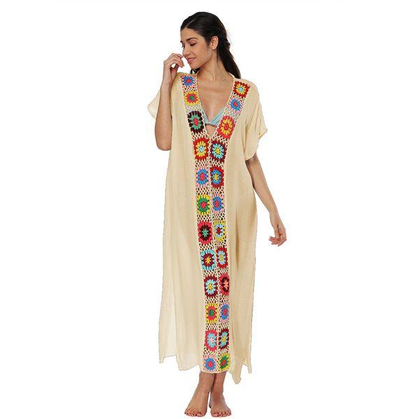 Women Boho Lace Dress Summer Casual Split Long Dresses Skirt Crochet edge Patchwork V Neck Short Sleeve One-piece Dress Beach Cover Up C3213