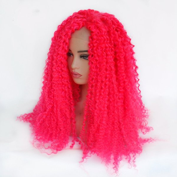 Long Pink Wig Heat Resistant Fiber Hair Synthetic Glueless Pink Kinky Curly Synthetic Lace Front Wigs For White Women