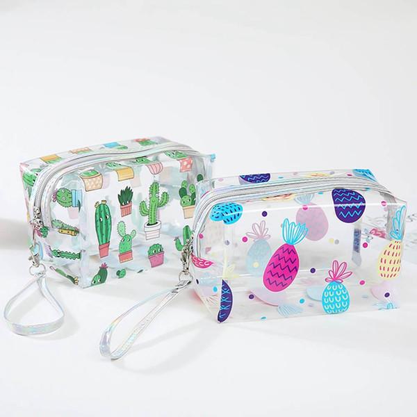 Прозрачный кошелек для монет симпатичные ПВХ путешествия макияж сумка кактус фламинго ананас мешок