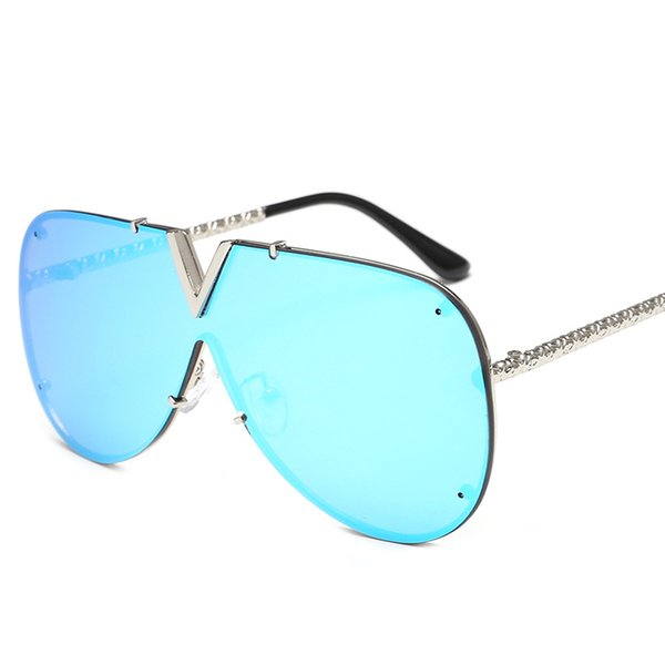 ASB01 New Arrival Rimless One Piece Lens Oversized V Vuiton Metal Sunglasses Shield French Design EYEWEAR Free Shipping United States USA JP