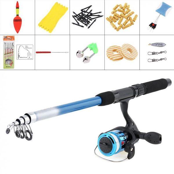 1.8m fishing rod reel line combo full kits spinning reel pole tool set with carp fishing lures fishing float hook swivel etc thumbnail