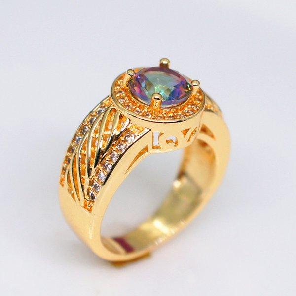 New inlaid topaz micro-inlay ring European and American colorful stone plated 18k yellow gold ring sale