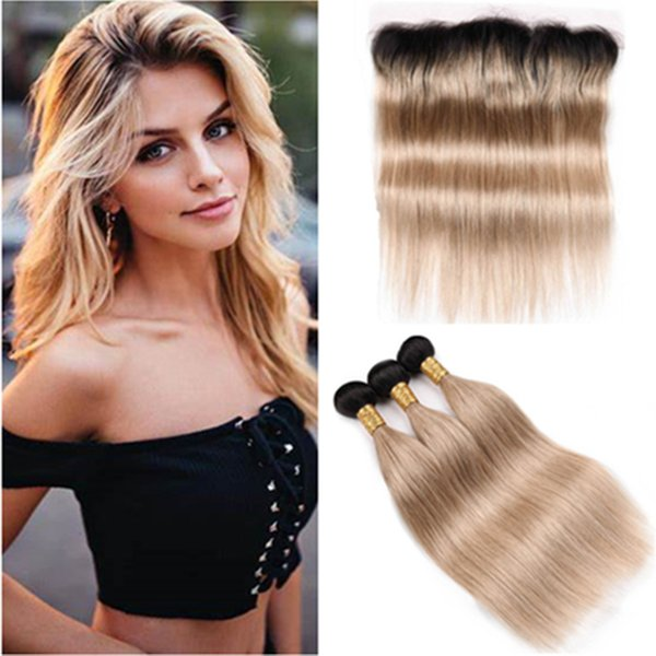 Ombre Honey Blonde Lace Frontal 13x4 De oreja a oreja con tejidos # 1B.27 Marrón claro Ombre Recto Cabello humano de Malasia 3 paquetes con frontal