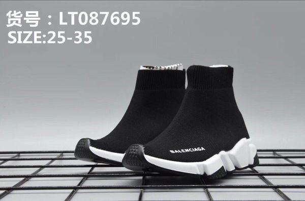 Zapatos baratos de marca Vestido de niño para niños Zapatillas de basketeball Suela verde neo + Deslizamiento de tela negra en zapatos Vestido de niña Diseñador Bebé Niño Niña Niños pequeños