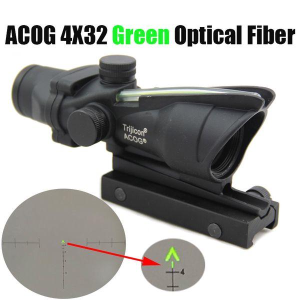Tactical ACOG 4X32 Fiber Optics Green Dot Illuminated Rifle Scope Chevron Glass Etched Reticle Green Fiber Hunting Optical Sight