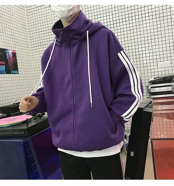 Newest Male Hip hop Loose Hooded Overcoat Baseball Jackets Striped Casual Coat Men Outwear Streetwear Jacket