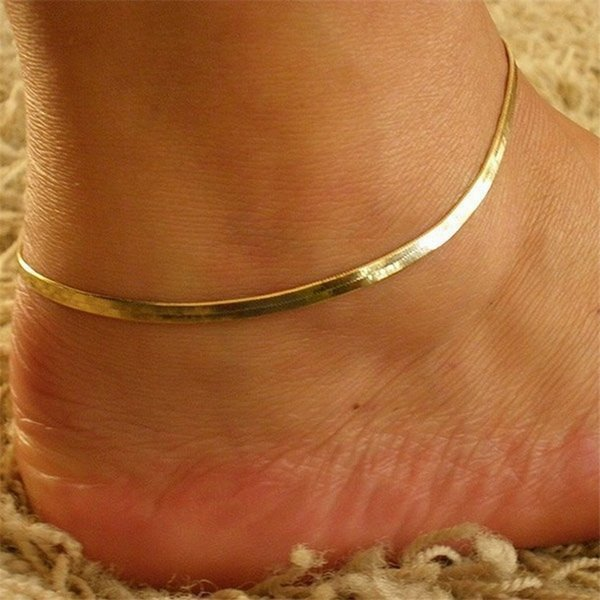 Girl's Metal Fine Fish Scales Chain Ankle Silver Link Anklet Bracelet Barefoot Sandal Beach Wedding Foot Jewelry Golden