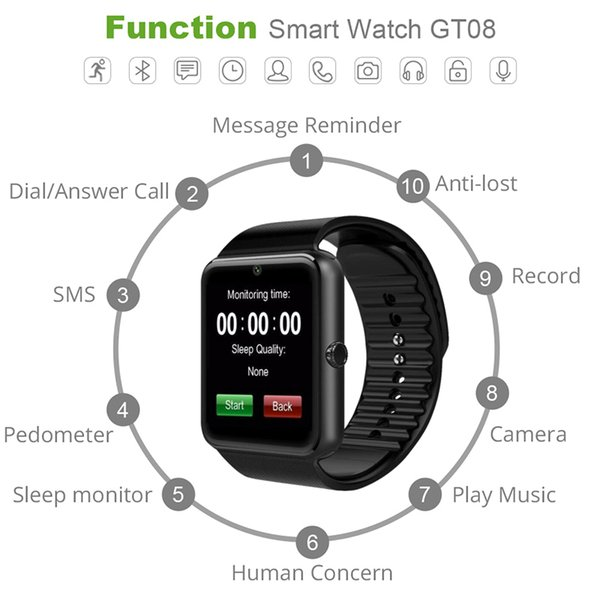 Hot Sale Smart Watch GT08 for Andriod Mobile Phone Bluetooth Watch with SIM Card Watch for IOS Wearable Device Phone Free Shipping