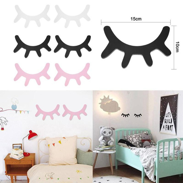 Nordic Style Cute Wooden 3D Eyelash Wall Sticker Decor Children Kids Baby Room Background Wall Sticker Home Decoration