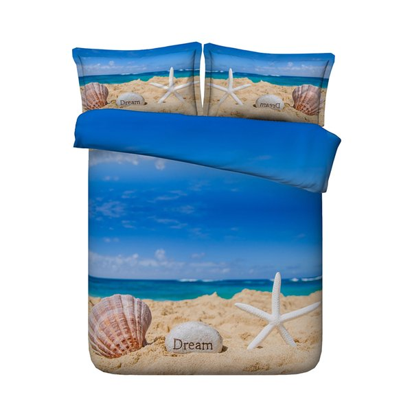 Blue 3 Pieces Bedding With 2 Pillow Shams 3D Ocean Beach Starfish Duvet Cover Sets Wavy Bedspread Vivid Colored Bed Set Island Sea Island