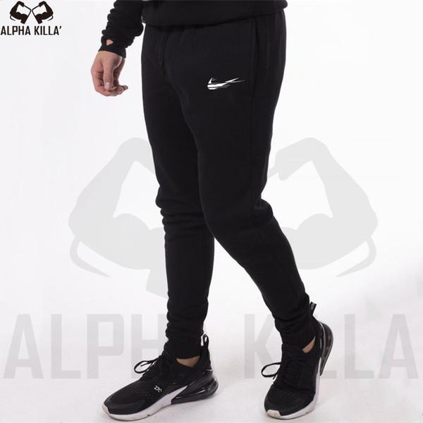New Men Бегуны Brand Мужские брюки мода повседневные брюки Sweatpants Мужчины Gym Muscle хлопок Фитнес тренировки хип-хоп Эластичные брюки
