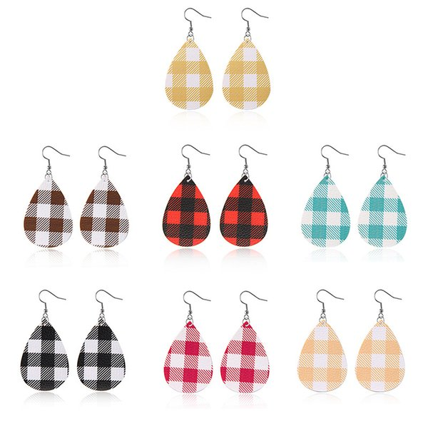 fashion waterdrop shape pu leather earrings dangle grid plaid pattern dangle ear hook drop double sided earring for women jewelry gifts