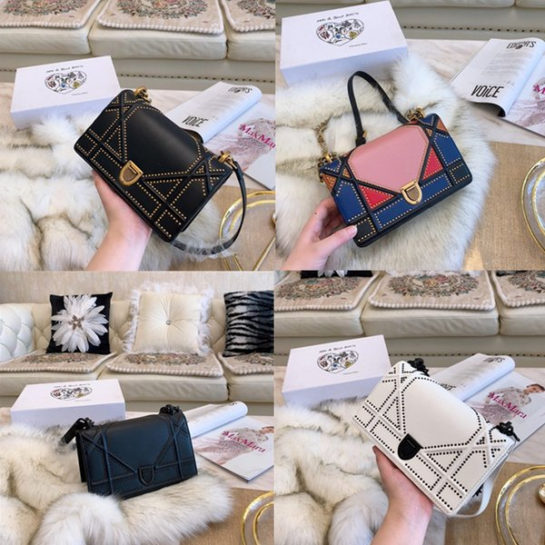 Designer handbags fashion high quality woman shoulder bags rivet accessory chain slanting bar wallet outdoor bag free shipping