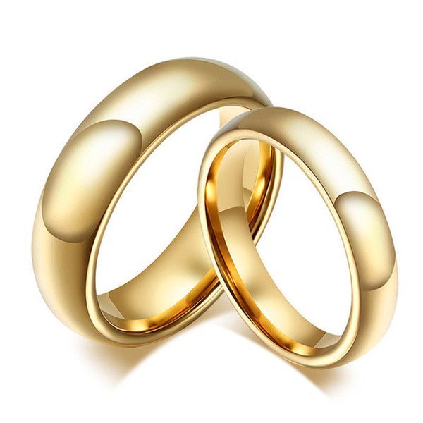 top popular 20 pcs Tungsten Carbide Gold Ring For Men Women Lovers Wedding Band Alliance Bridal Jewellery Sets Couples Ring 2019