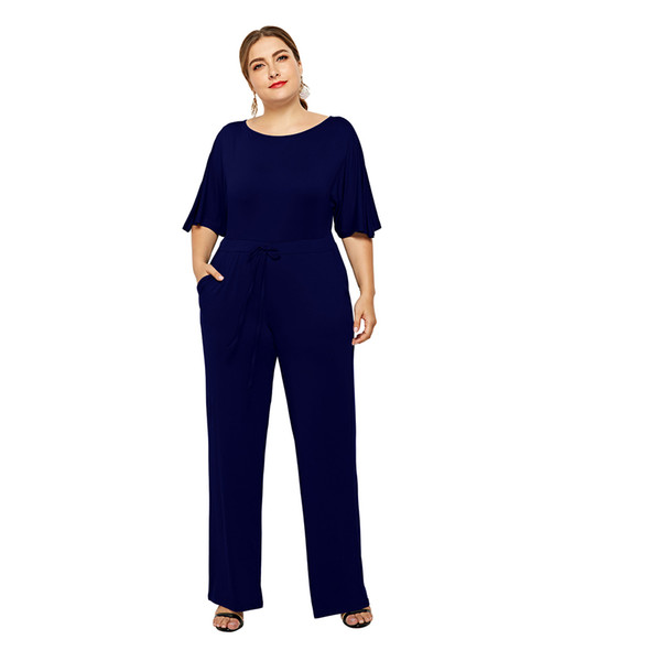 Woman Plus Big Size Elegant Jumpsuits Fashion O-neck Short Sleeve Clothes Female 2019 Summer Casual Wear High Street Playsuits