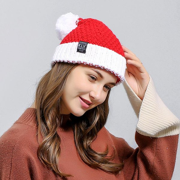 Unisex Knit Stretchy Beanie Winter Warm Hat Christmas Santa Cap Merry Christmas Hats Soft Knitted Hats