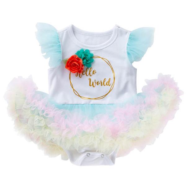 Новый прибыл лето кружева Детские ползунки принцесса пачка платье новорожденный комбинезон новорожденный девочка одежда ребенок девочка дизайнер одежды A6330
