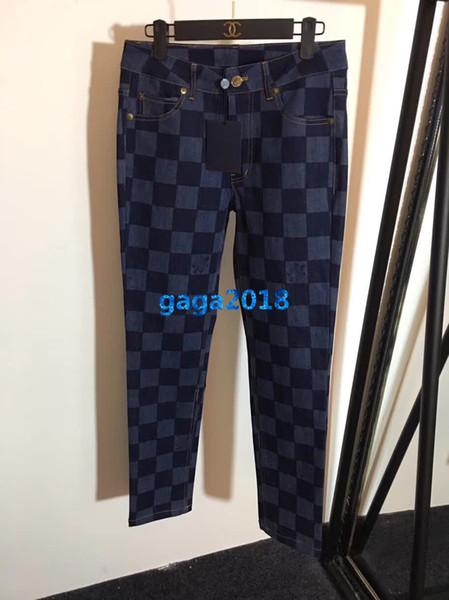 Высококачественные женские девушки прямые джинсы джинсовые брюки в клетку с принтом джинсовые повседневные узкие тонкие брюки-карандаш высокого качества дизайн одежды роскошные брюки