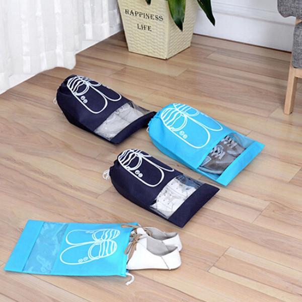 2 tailles Chaussures étanches Sac Voyage chaussures portable sac de rangement organiser fourre-tout à cordonnet Dolap Organisateur non tissé Organizador