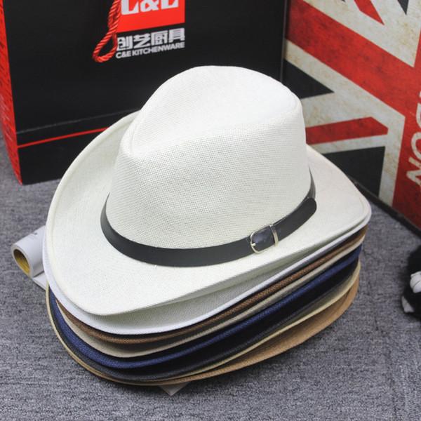 Livre d'été Straw Hat Jazz Cap Casual Western Cowboy Chapeaux avec boucle de ceinture de bande large Brim Voyage Sunhat plage Hat pour Hommes Femmes