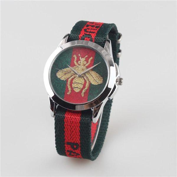 clásico reloj estilo popular marca de manera simple abejita tigre de serpiente patrón de cuarzo reloj de cuero deportivo Masculino Relógio 004