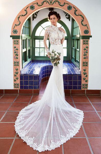 Vestido de Novia Cuello alto Vestidos de novia Manga larga Sheer Blusa Vestido de novia de encaje Sirena Vestidos de novia 2019 Abiti da Sposa