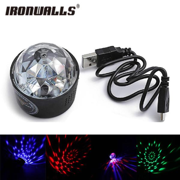 Ironwalls universale SUV Mini Car Interior RGB LED di musica della discoteca del DJ Atmosfera luce con base magnetica USB 5V Changer Car Interior