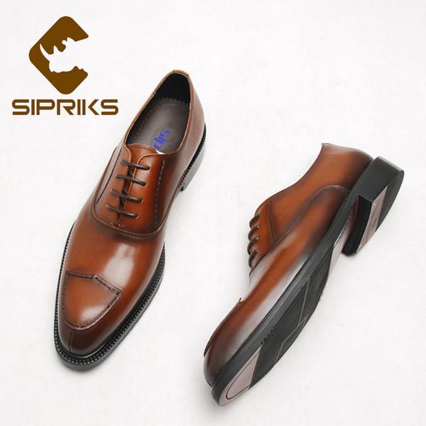 wholesale Unique Design Mens Genuine Leather Brown Oxfords Cool Men Formal Tuxedo Gents Suits Shoes Lace Up Banquet Wedding Flats