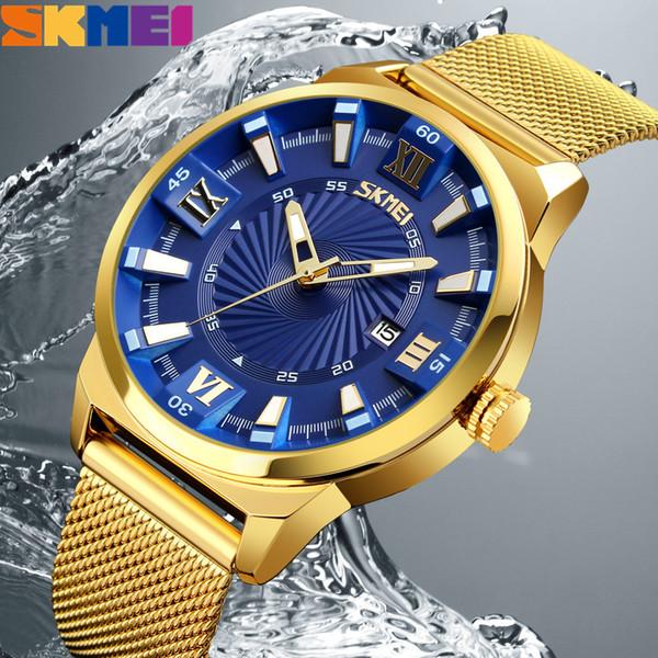 SKMEI Gold Quartz Wrist Watch Mens Watches Top Brand Luxury Waterproof Casual Stainless Steel Male Watch Relogio Masculino Saat