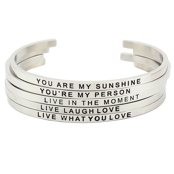 Inspirational Bracelet Cuff Bangle you are my sunshine Stainless Steel Engraved Motivational Encouragement Jewelry Gift for Women