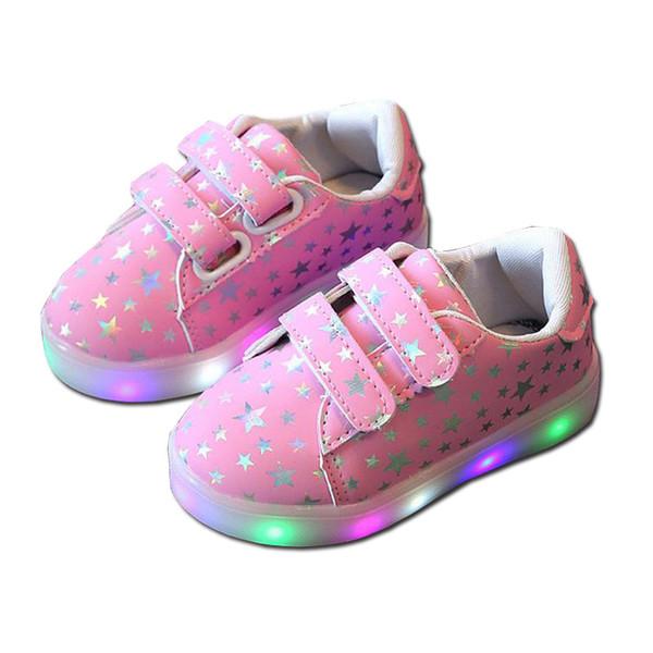 Детская светящаяся обувь малышей Мальчики Девочки LED Light UP Shoes Повседневные кроссовки Light Up Neon Glow Shoes Блестящие звезды Модные кроссовки