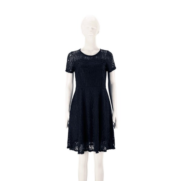 Women Floral Lace Dresses Short Sleeve Party Casual Color Blue Red Black Mini Dress 181219