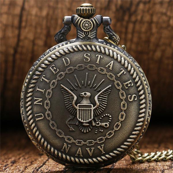 Steampunk United States Navy Eagle Design Taschenuhren Männer Frauen Analog Quarzuhr Uhr Halskette Kette Geschenk