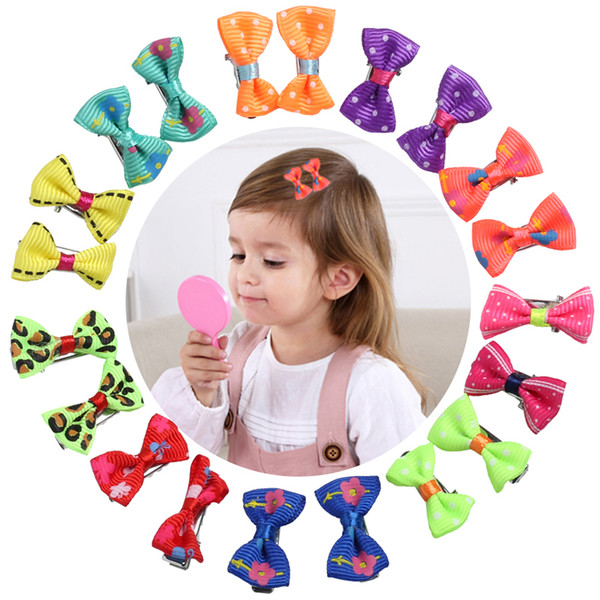 20pcs Bow Clips for Children Color Barrette Cute Pets Cat Kids Flower Fabric Ribbon Hairpin Hair Clamp Clip Pins Baby Girls C19010501