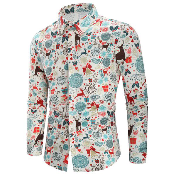 2019 casuale Stampa shirt manica lunga da uomo Streetwear Autunno Inverno camicia Elk Natale camice di modo maschio allentato manica lunga Mens # G7