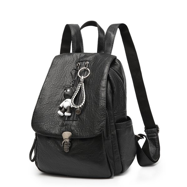 Both Shoulders Package Woman Xia Baida Soft Leather Backpack Leisure Time Student A Bag Travelling Bag