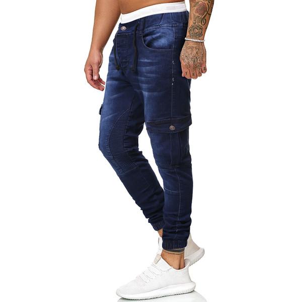Sin fronteras del Amazonas Europa y los Estados Unidos casual jeans de colores puros para hombre de los pantalones vaqueros grandes J1724K23