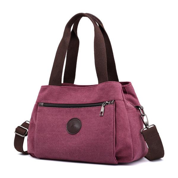Women's Canvas Handbags Female Hobos Single Shoulder Bags Ladies Totes Bolsas Woman Crossbody Pack Vintage Solid Multi-pocket Y19052104