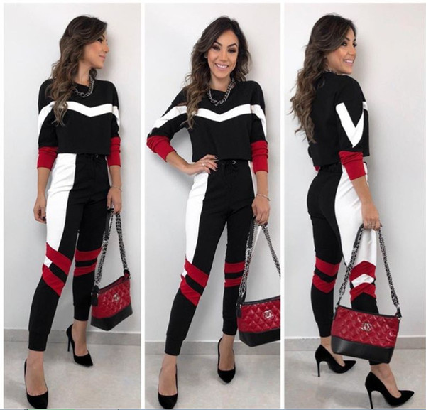 2019 New Big lazy cat Brand Women Outfits 2 Piece Set Casual Ladies Track Suit Two Piece Set Top and Pants Tracksuit for Women Clothes