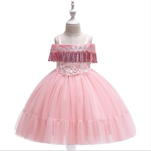 2019 New Elegant Girl Ball Gown Lace Wedding Dress Appliques Party Tulle Princess Birthday Dress Suspender First Communion Gown