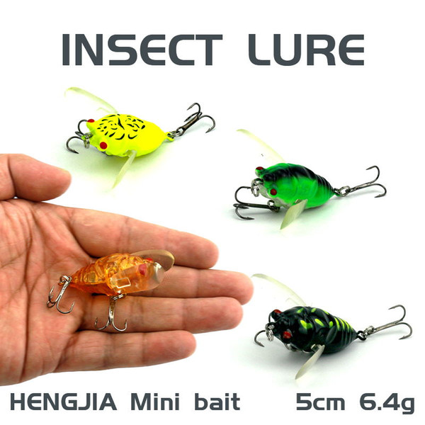 HENGJIA 1Pcs Insects fishing Lure 5cm 6.4g Bait Bass cicada fishing tackle with Treble hook 8#hook