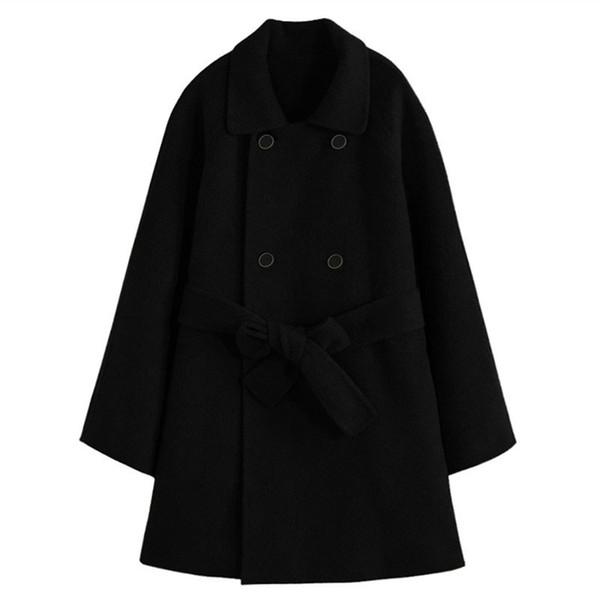 winter women woolen coat turn-down collar thicken skirt coat fashion high quality female long sleeve black plus size casual
