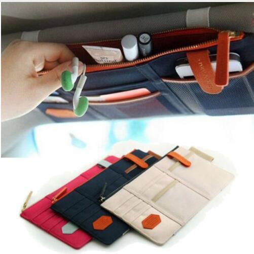 Sun Storage escudo saco de carro saco organizador multi-purpose Sunvisor bolso ponto de auto carro pendurado cartão Bag Organizador KKA6754